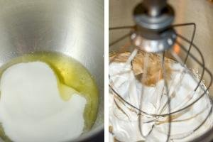 2 photos side by side one photo of egg whites and sugar in a bowl and the other photo of the 2 whisked together