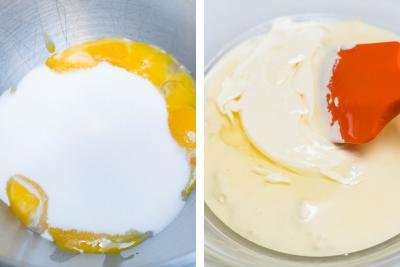 Eggs with sugar in one bowl, another bowl with whisked ingredients