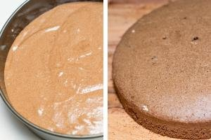 Chocolate dough in a baking pan, baked chocolate sponge cake