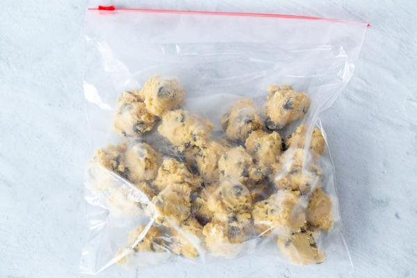 Frozen cookie dough in a ziplock bag