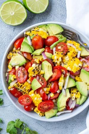 Corn tomato Avocado salad in a bowl