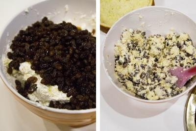 2 photos side by side one photo with drunken raisins added to the cream in the bowl and the other photo with it all mixed together in the bowl with a spatula