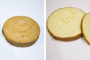 2 photos side by side one with a cake layer and the other with the cake layer cut in half horizontally