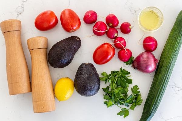 Ingredients for the fresh avocado salad