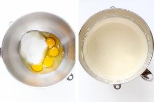 Two bowls, one with eggs and another one with whisked ingredients