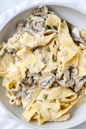 Mushroom Fettuccine Alfredo in a plate
