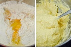 Two bowls with, one with flour and eggs, another bowl with dough