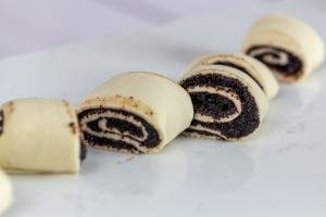 Rolled up dough with poppy seed filling