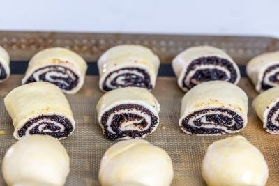Rolled up dough with poppy seed filling on a baking sheet