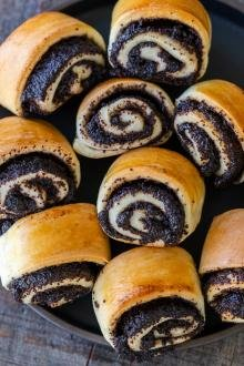Poppy seed rolls on a plate