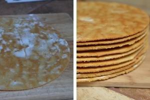 Honey cake layers baked