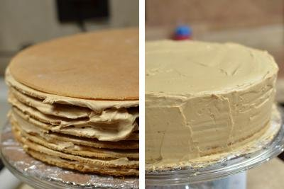 Cake layers with cream