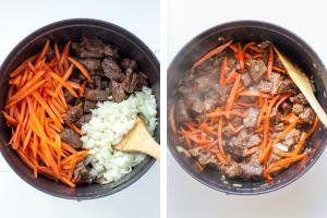 Cooking dish with meat carrots and onion