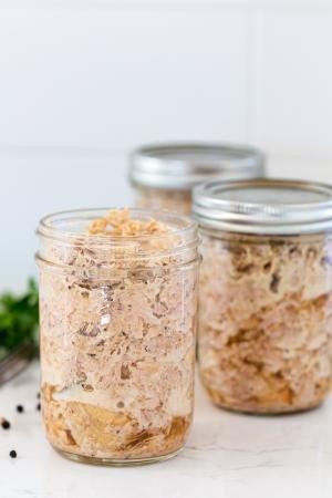 Stewed meat in a jar