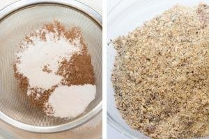 Flour and cacao sifted in one bowl, another bowl with hazelnuts