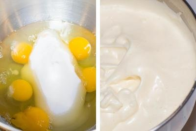 2 photos side by side one with sugar and eggs and one with eh 2 whisked together