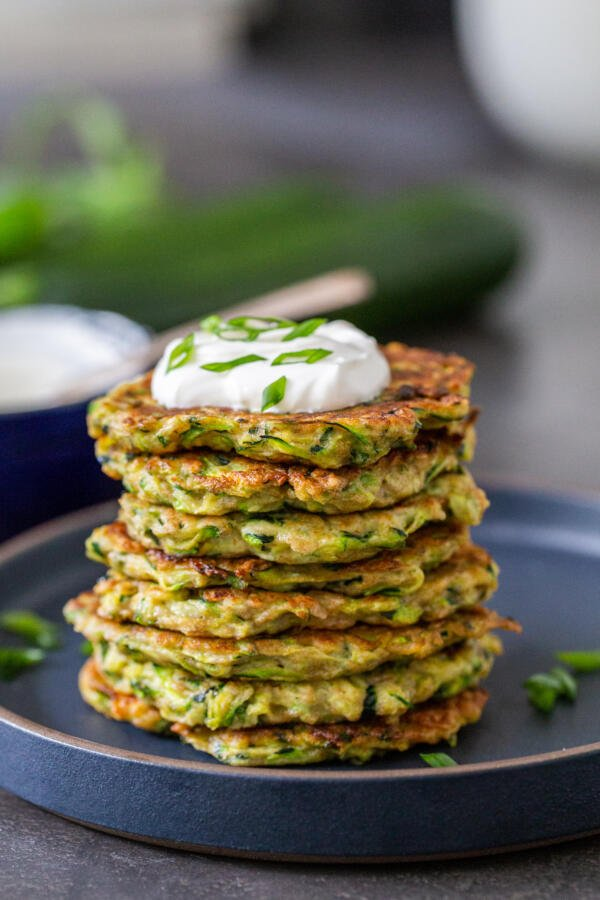 Zucchini Fritters on a plate