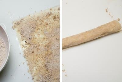 2 photos side by side one with pastry dough rolled out and the sugar mixture being spread on it and one with the pastry rolled up into a roll