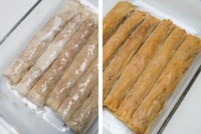 2 photos side by side one with raw Rolled Baklava in a baking pan covered in butter and one with cooked rolled baklava