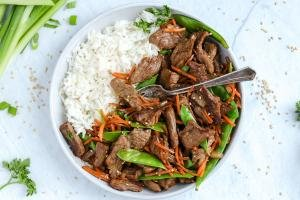Beef Stir Fry in a dish with rice