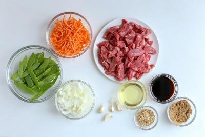 Beef Stir Fry ingredients on the tray