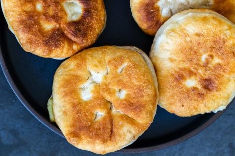 Fried piroshki on a plate