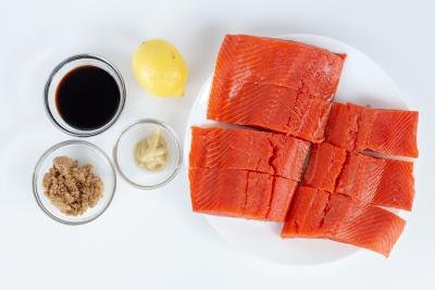 Ingredients for the brown sugar glazed salmon recipe