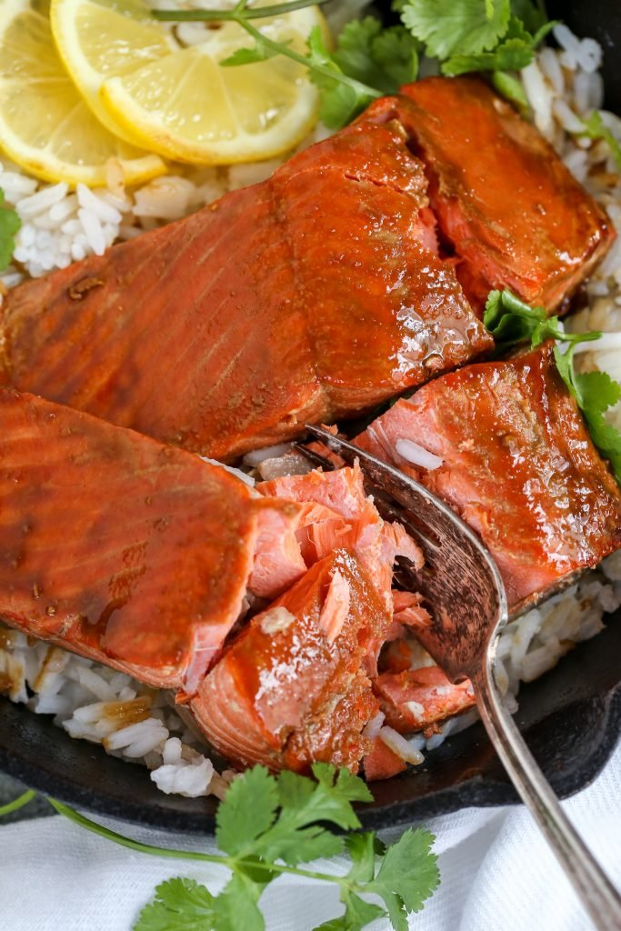 Brown Sugar Glazed Salmon in a skillet with fork