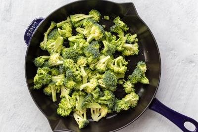 broccoli cooking in a pan