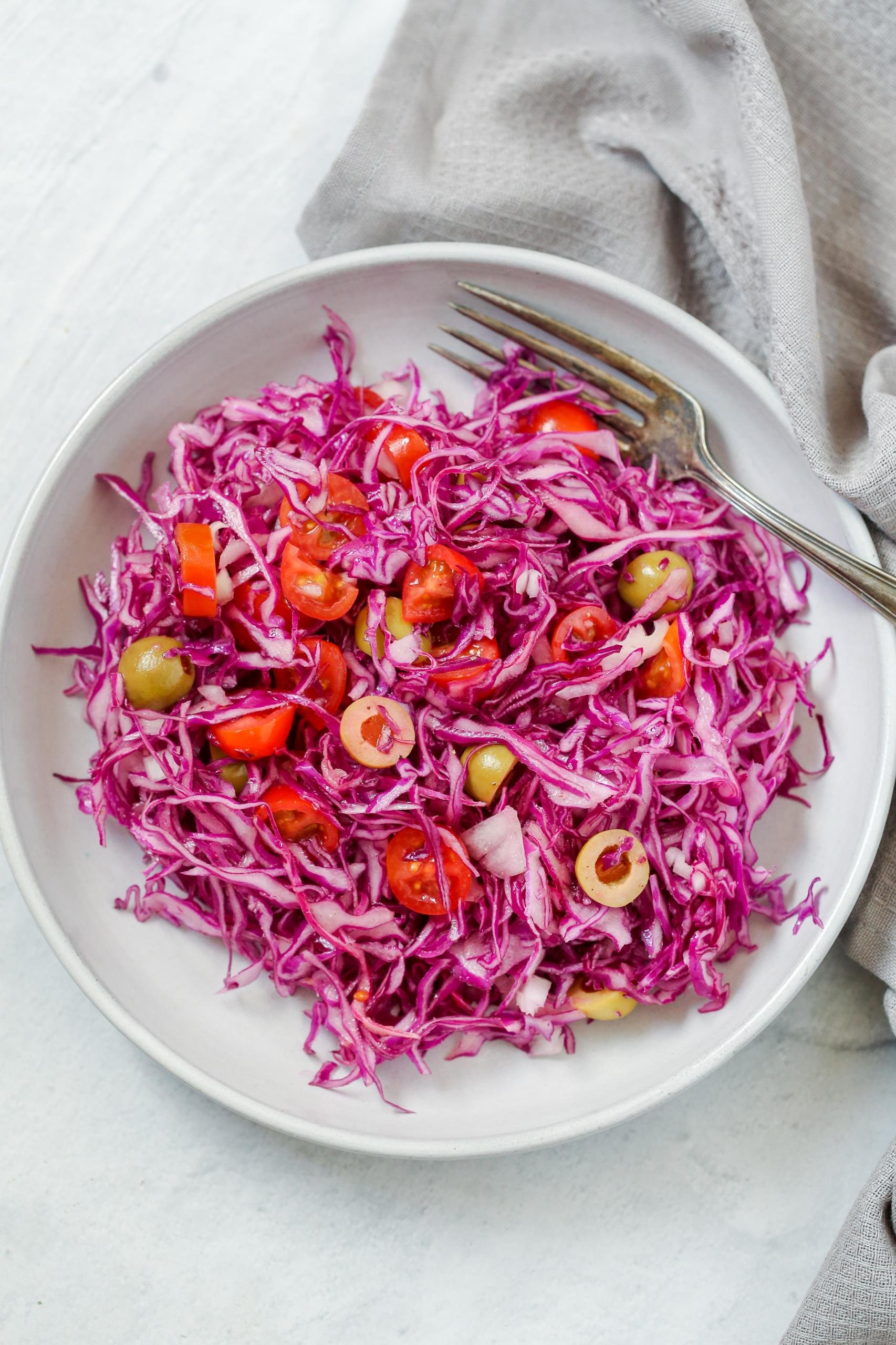 Purple cabbage salad in a bowl