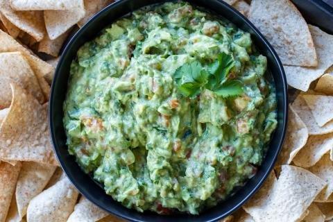 Guacamole on a plate