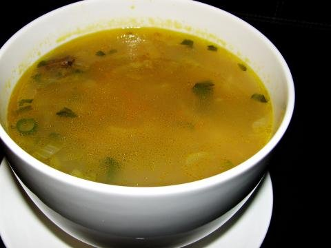 Chicken Gizzard Mushroom Soup in a bowl
