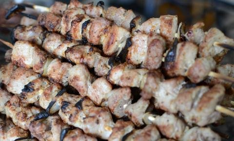 Pile of Pork Kabobs