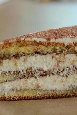A slice of tiramisu cake on a plate