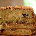 A slice of prune and walnut cake