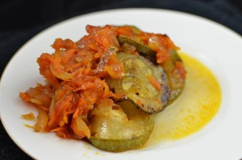 Portion of zucchini bake on a plate