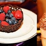 Chocolate Baskets with fruit inside on and plate and a second picture with a chocolate basket being made on a water balloon
