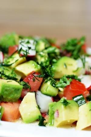 Fresh Avocado Salad on a plate