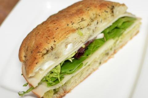 Focaccia Sandwich half on a plate