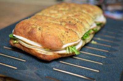 Focaccia Sandwich on a baking sheet