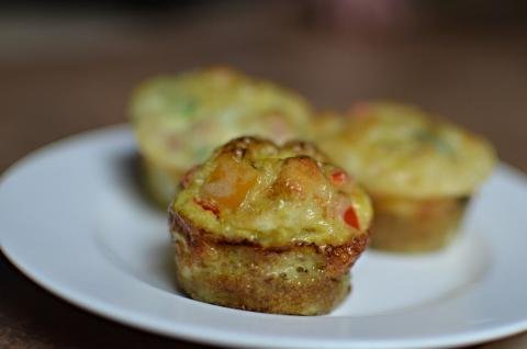 3 mini omelet cupcakes on a plate