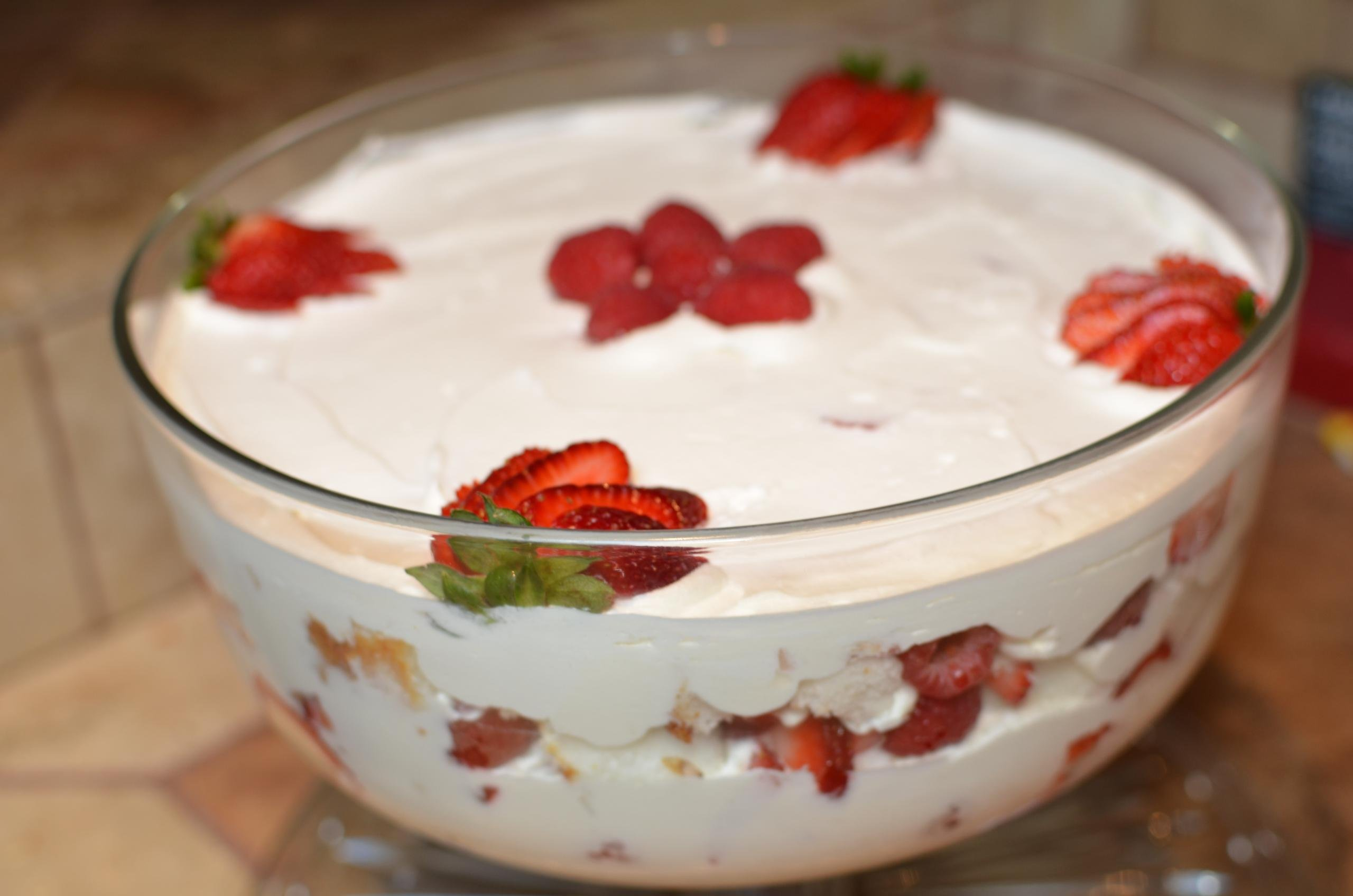 Angel Trifle in a deep glass bowl