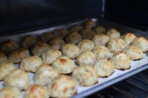 Oatmeal Meatballs on a baking pan in the oven