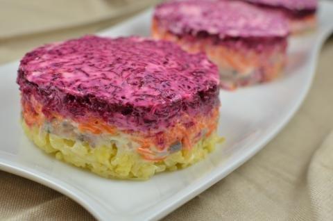 Shuba (Fur Coat Salad) on a plate