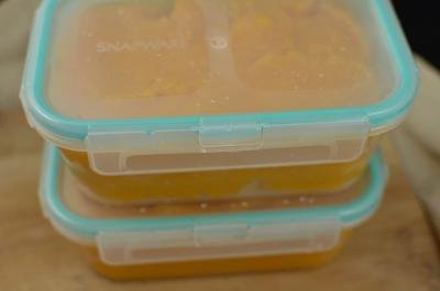 Pumpkin Puree distributed into 2 plastic tupperware