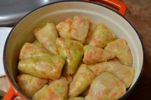 Cabbage Rolls packed tightly in a ceramic pot