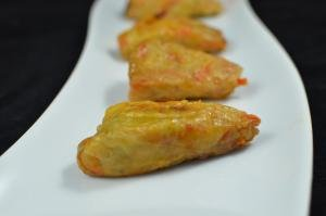 Cabbage Rolls in a row on a plate
