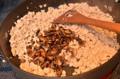 Skillet with ground meet and mushrooms