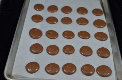 Chocolate Macarons circles on a baking sheet lined with parchment paper
