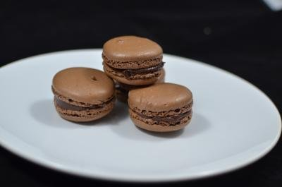 Chocolate Macarons on a plate